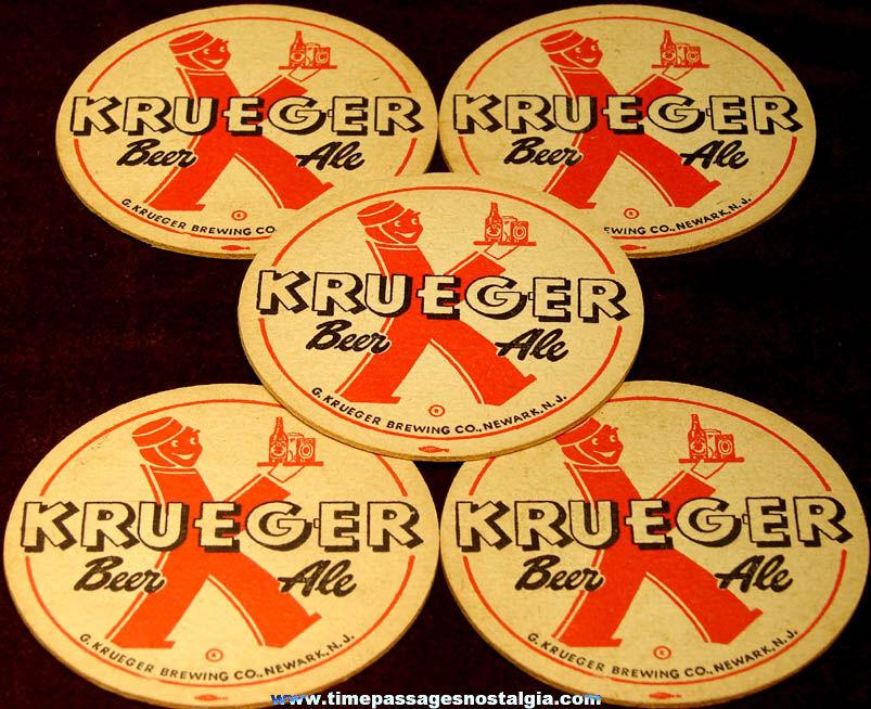 (5) Old Unused Krueger Beer Ale Advertising Printed Paper Coasters