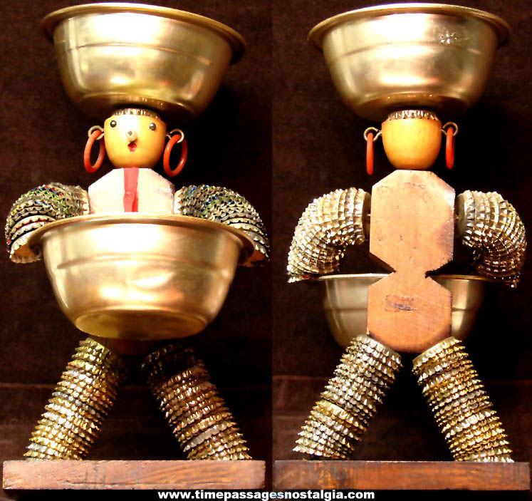 Old Bottle Cap Hors D'Oeveres or Snack Folk Art Serving Figure