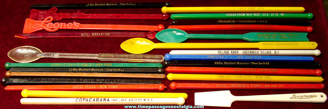 (25) Colorful Old New York City Advertising Souvenir Drink Swizzle Sticks