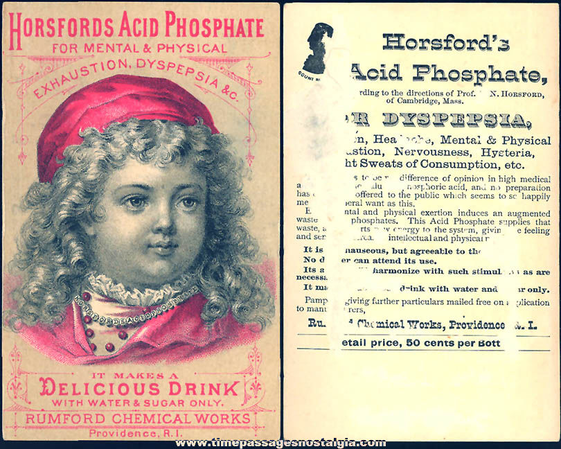 Colorful Old Horsfords Acid Phosphate Drink Victorian Advertising Trade Card