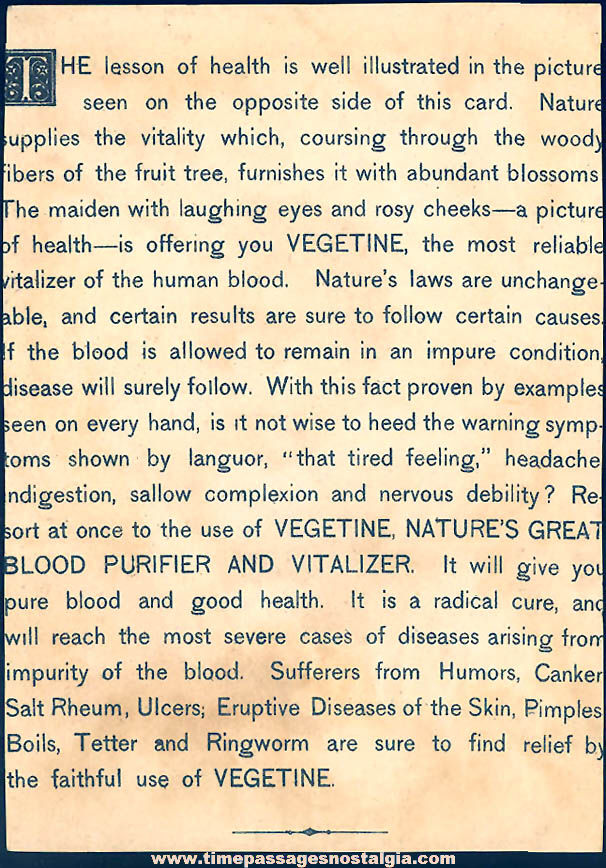 Colorful Old Vegetine Blood Purifier Victorian Advertising Trade Card