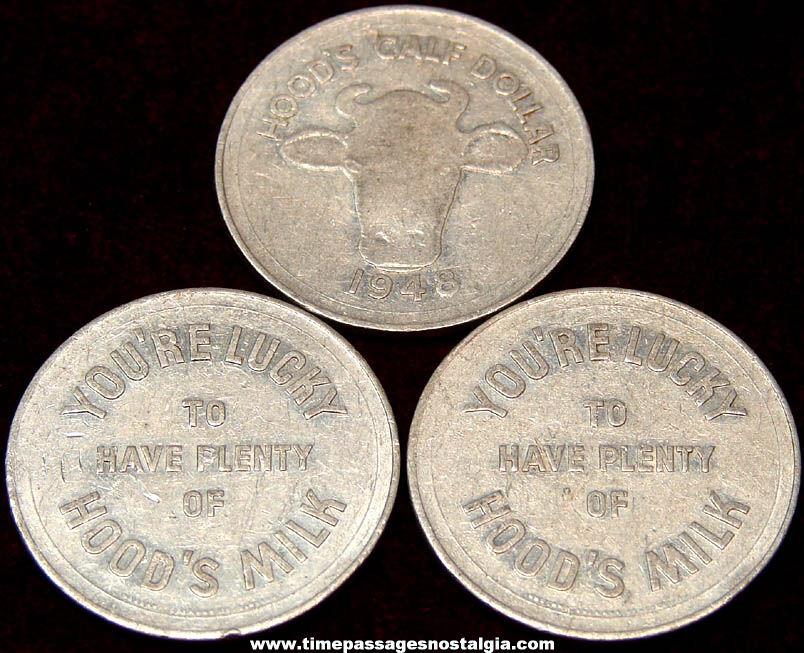 (3) 1948 Hood Calf Dollar Milk Advertising Premium Lucky Token Coins
