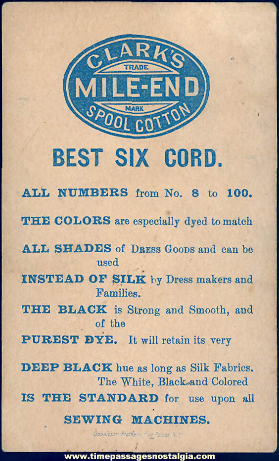 Colorful Old Clark's Mile End Spool Cotton Thread Advertising Premium Victorian Trade Card