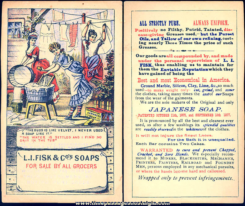 Colorful Old L. I. Fisk & Company Soaps Advertising Premium Victorian Trade Card