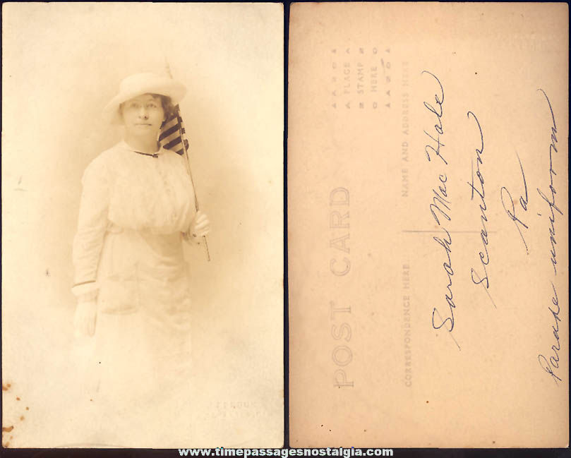 Early 1900s Scranton Pennsylvania Woman With American Flag Real Photo Post Card