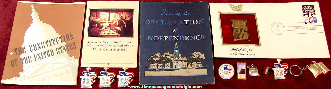 (13) Small Colorful American Flag and Patriotic Related Items