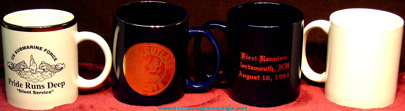 (4) Different United States Navy U.S.S. Cutlass SS-478 Ceramic or Porcelain Submarine Advertising Coffee Cups