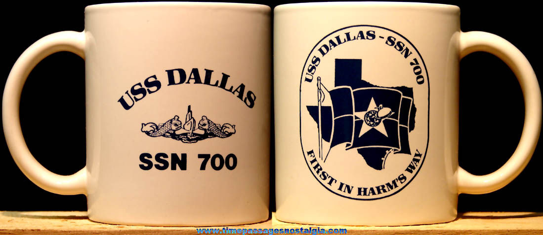 United States Navy U.S.S. Dallas SSN-700 Ceramic or Porcelain Submarine Advertising Coffee Cup