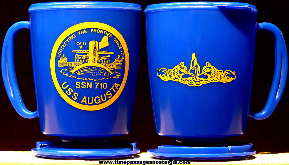 United States Navy U.S.S. Augusta SSN-710 Plastic Submarine Advertising Coffee Cup with Base & Cap