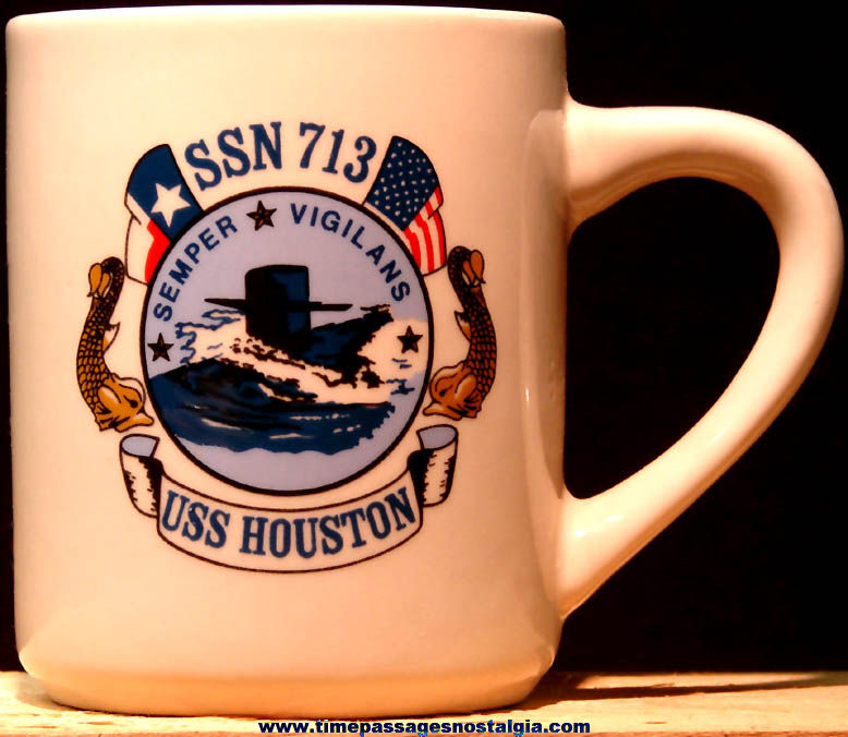 United States Navy U.S.S. Houston SSN-713 Ceramic or Porcelain Submarine Advertising Coffee Cup