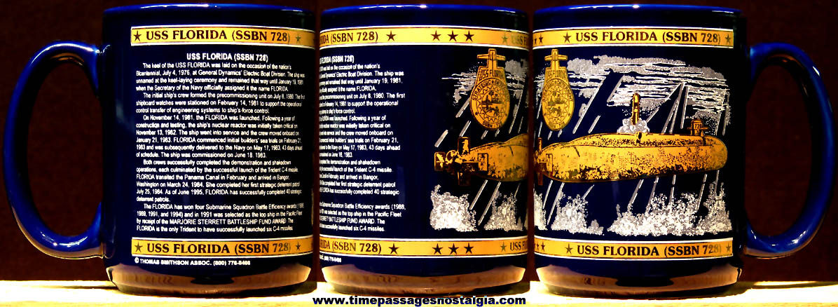 United States Navy U.S.S. Florida SSBN-728 Ceramic or Porcelain Submarine Advertising Coffee Cup