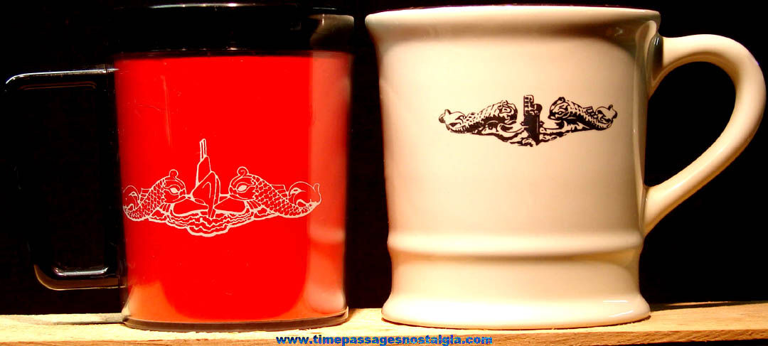 United States Navy U.S.S. Alabama SSBN-731 Porcelain & Plastic Submarine Advertising Coffee Cups