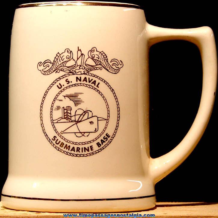United States Navy U.S. Naval Submarine Base Ceramic or Porcelain Advertising Coffee Cup