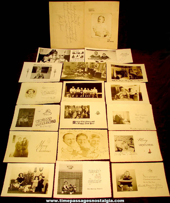 (18) Different Old Black & White Christmas Photograph Greeting Cards