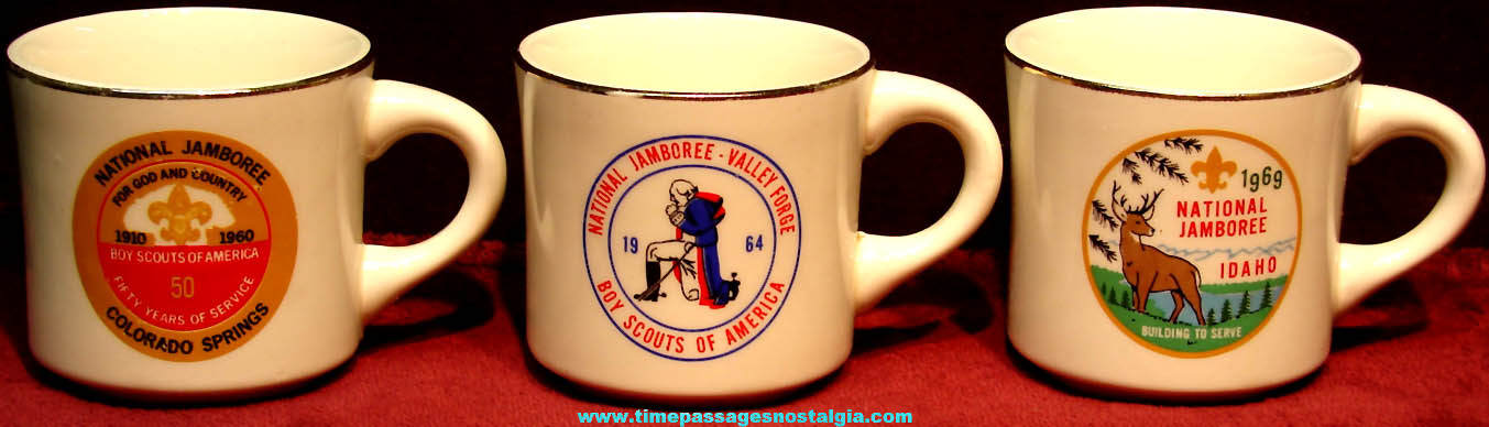 (3) Different 1960s Boy Scouts National Jamboree Advertising Ceramic Coffee Cups