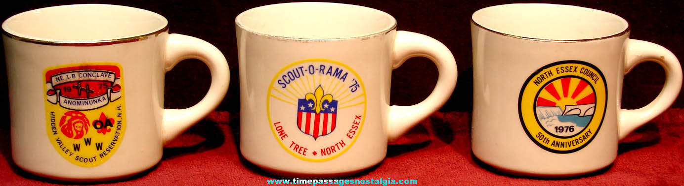 (3) Different 1970s Boy Scouts Advertising Ceramic Coffee Cups