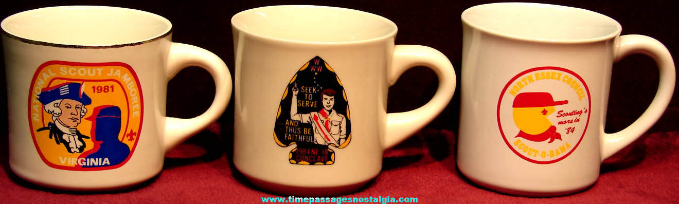 (3) Different 1980s Boy Scouts Advertising Ceramic Coffee Cups