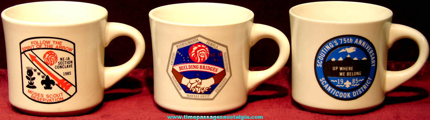 (3) Different 1985 Boy Scouts Advertising Ceramic Coffee Cups