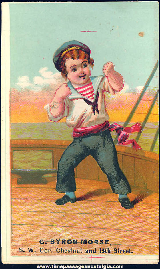 Colorful Old G. Byron Morse Confectionery Advertising Victorian Trade Card