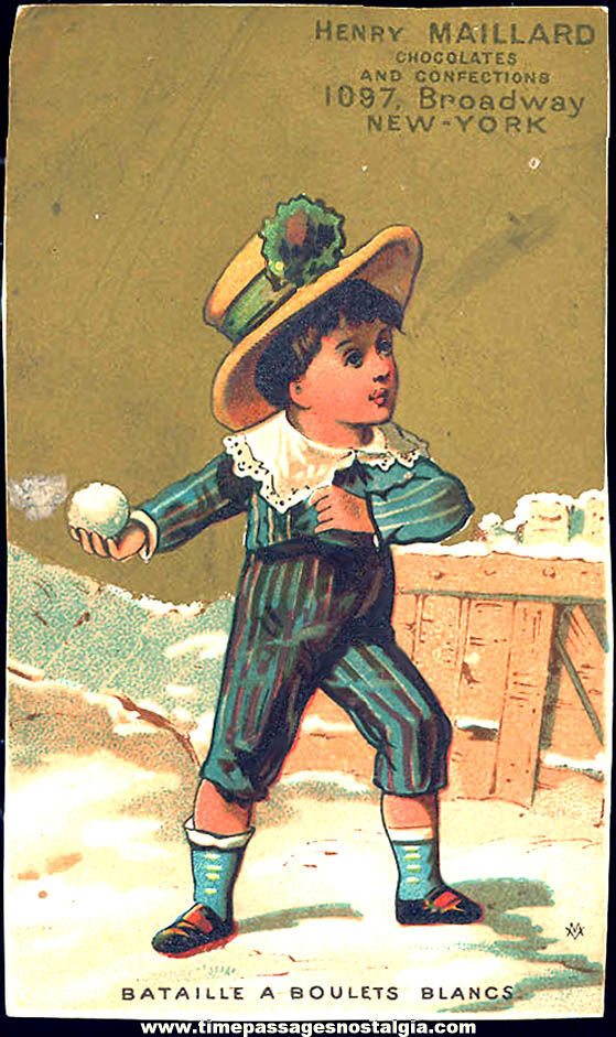 Colorful Old Henry Maillard Chocolates and Confections Advertising Victorian Trade Card