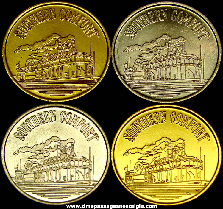 (4) Old Southern Comfort Whiskey Advertising Premium Metal Token Coins