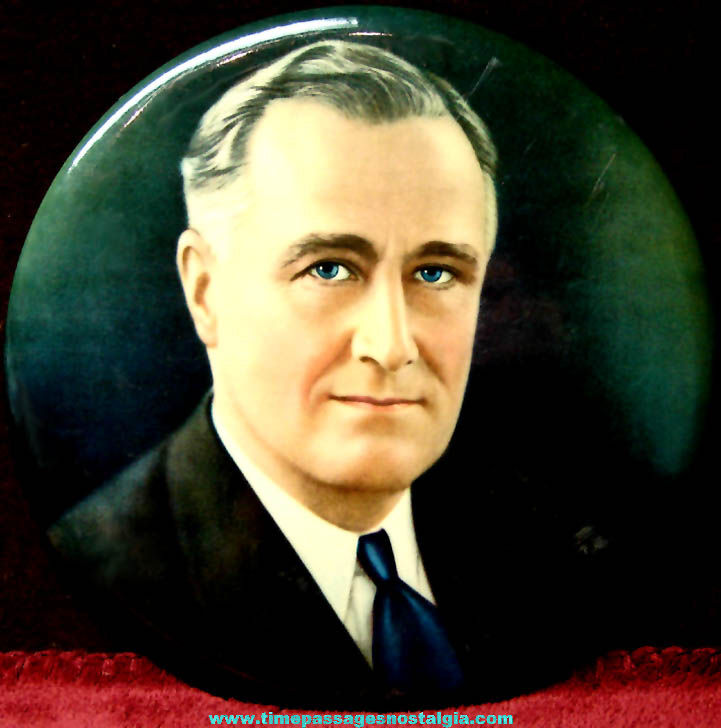 Colorful Old United States President Franklin Delano Roosevelt Round Wall Plaque