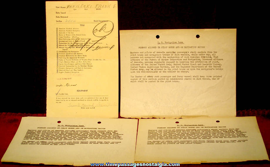 (6) 1940s Waterman Steamship Corporation Mobile Alabama Paper Items