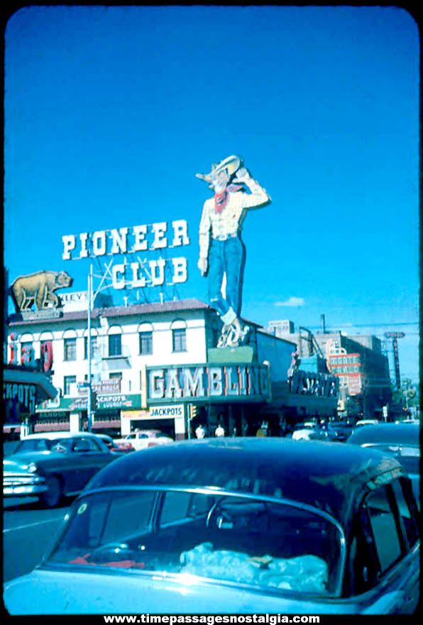 1950s Pioneer Club Casino Las Vegas Nevada Kodachrome Color Photograph Transparency Slide