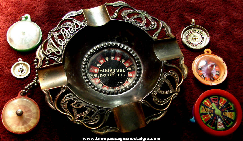 (7) Small Roulette Wheel Gambling Related Toy Game & Jewelry Items