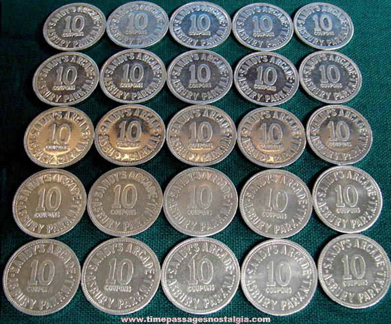(25) Old Asbury Park New Jersey Boardwalk Sandy's Arcade Game Ten Point Token Coins