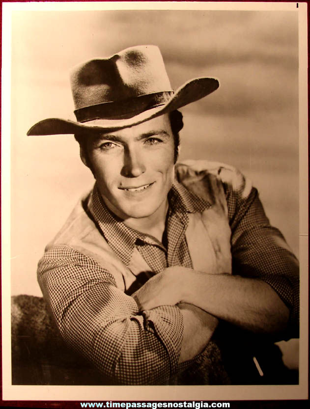 Young Clint Eastwood Black & White Rawhide Television Actor Publicity Photograph