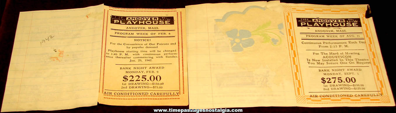 (2) Different 1941 Andover Massachusetts Playhouse Movie Theater Schedules