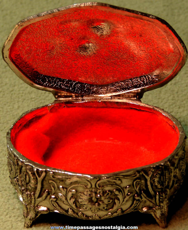 Old Ornate Metal Jewelry or Trinket Box With Flowers