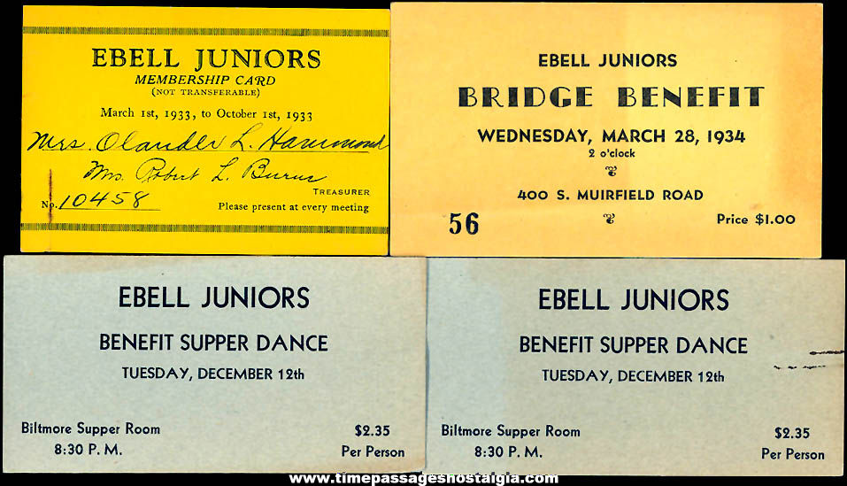 (4) Old Los Angeles California Ladies Ebell Club Advertising Tickets and Membership Card