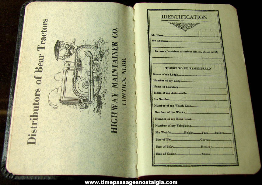 1924 Havelock Highway Maintainer Company Advertising Premium Calendar Diary Booklet