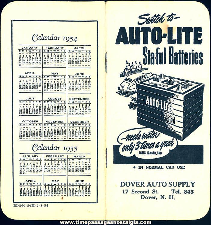 Unused 1954 Auto-Lite Sta-Ful Battery Advertising Premium Note Booklet