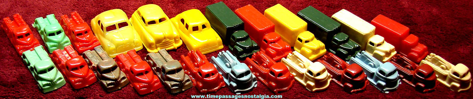 (25) Colorful 1950s Dime Store Miniature Hard Plastic Toy Trucks and Cars