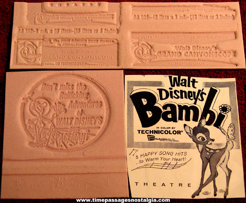 (4) Small Unused 1950s Walt Disney Animated Movie Ad Mat Molds + Bonus