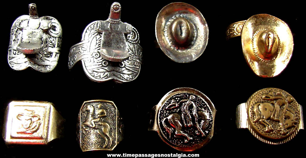 (8) Different Old Western Cowboy Metal Premium or Prize Toy Rings