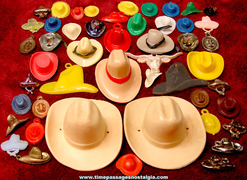 (48) Old Western Cowboy Hat Miniatures and Gum Ball Machine Toy Prize Charms