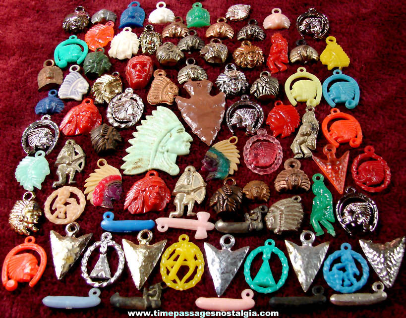 (79) Old Western Native American Indian Gum Ball Machine Toy Prize Charms