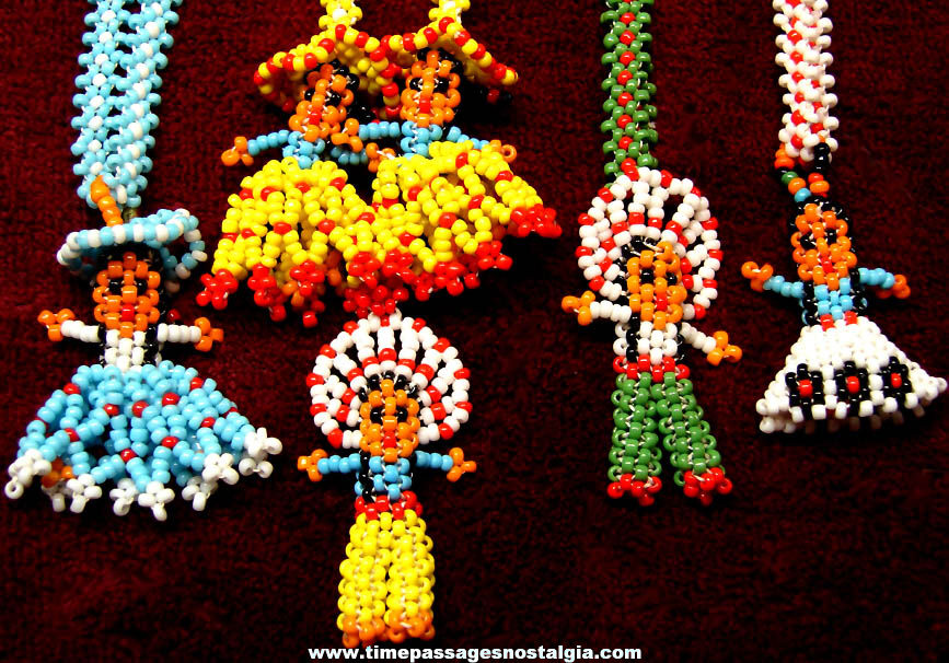 (4) Colorful Old Western Native American Indian Theme Beadwork Necklaces