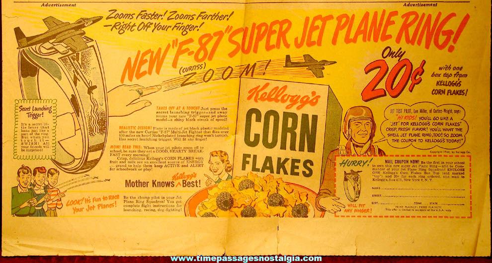 ©1948 Kellogg's Corn Flakes Cereal Premium F-87 Curtiss Super Jet Plane Toy Ring Advertisement