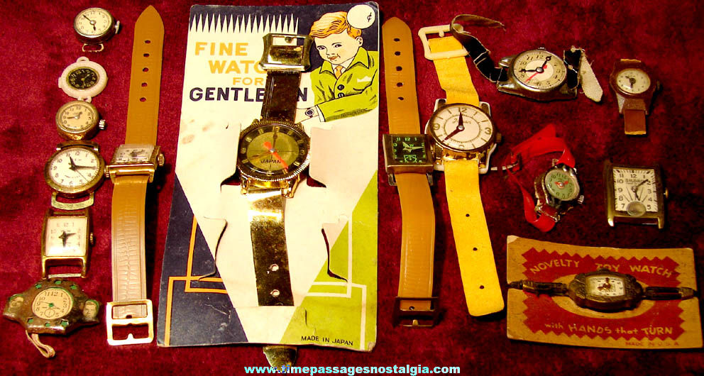 (15) Different Old Children's Play Toy Novelty Wrist Watches