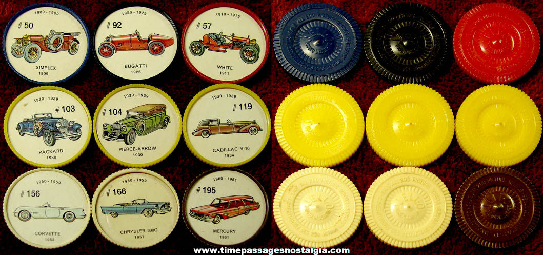(9) Old Jell-O Desserts Advertising Premium Automobile Picture Token Coins