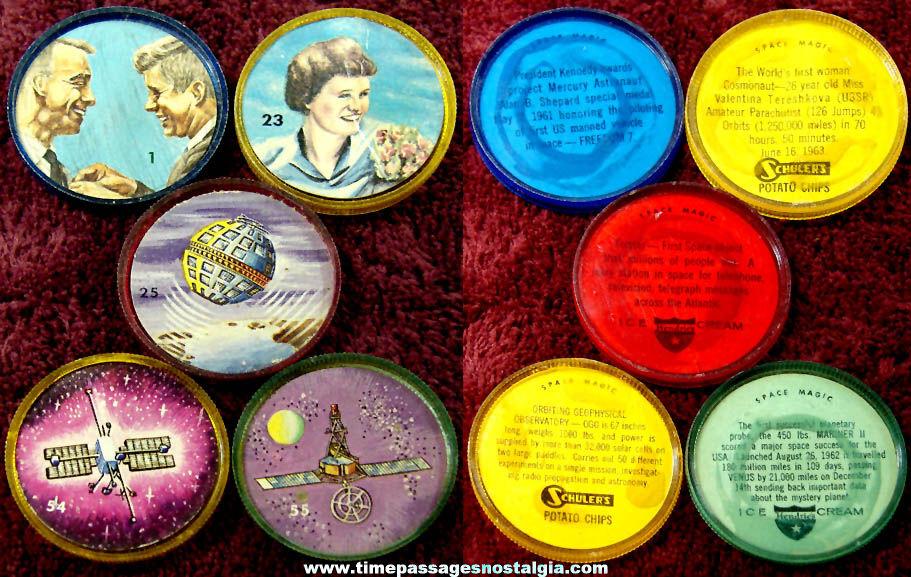 (5) Hendrie's Ice Cream & Schuler's Potato Chip Space Magic Advertising Premium Token Coins