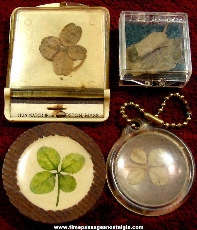 (4) Different Old Real Four Leaf Clover Good Luck Items