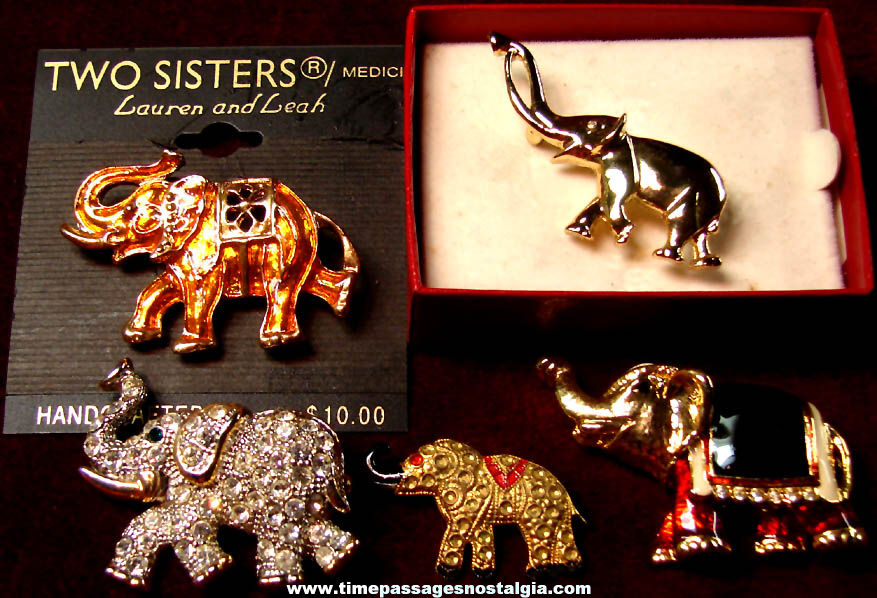(5) Different Small Metal Elephant Animal Jewelry Pins with Stones