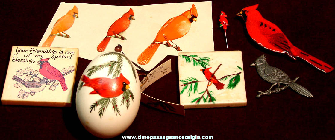 (9) Different Small Cardinal Bird Related Items