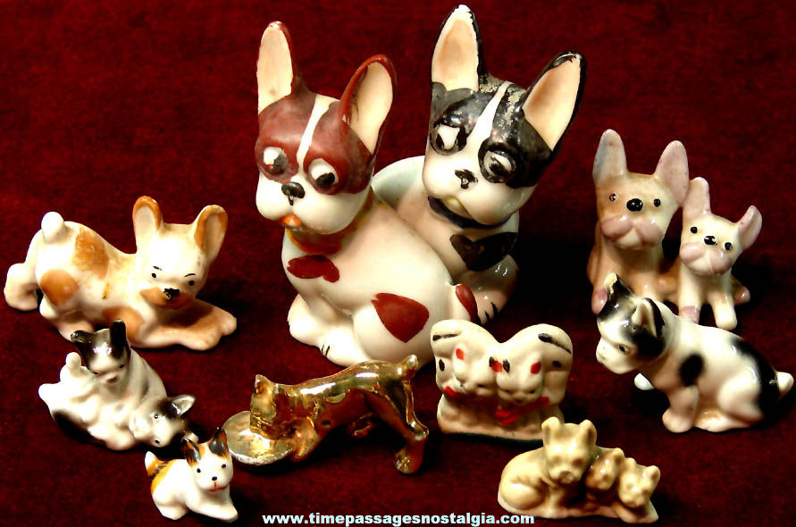 (9) Different Old Porcelain or Ceramic Boston Terrier Dog Figures or Figurines